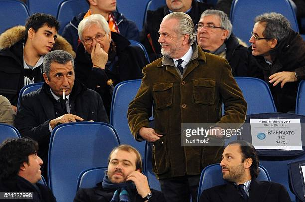 Rome Italy 5th Feb 2014 Aurelio De Laurentiis owner of SSC Napoli during Football / Soccer Italian TIM Cup match between AS Roma and SSC Napoli at...
