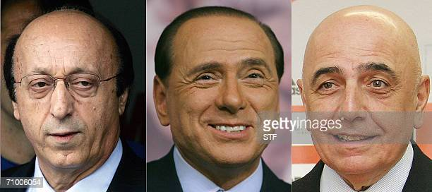 A combo of two file recent pictures shows Juventus' General Menager Luciano Moggi Italian Former Prime Minister and AC Milan owner Silvio Berlusconi...