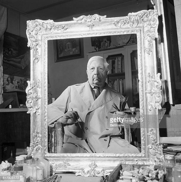 4/22/1963 Rome Italy A portrait of ego In his home in Rome artist Giorgio De Chrico sits with brushes in hand cropped by an ornate frame It's a...