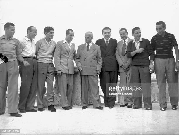 Rome Italy August 10 1948 The Tour de France winner Gino Bartali is received by the President of the Italian Republic Luigi Einaudi and by the...