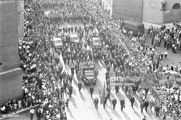 Rome Italy August 25 Funeral procession for the General Secretary of Italian Communist Party PCI Palmiro Togliatti