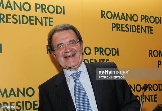 Centreleft leader Romano Prodi laughs during a press conference in Rome 19 April 2006 Italy's supreme court confirmed Prodi's lower house election...