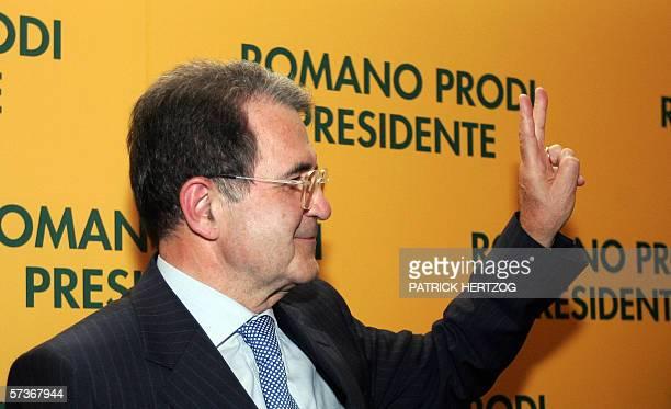 Centreleft leader Romano Prodi makes the victory sign during a press conference in Rome 19 April 2006 Italy's supreme court confirmed Prodi's lower...