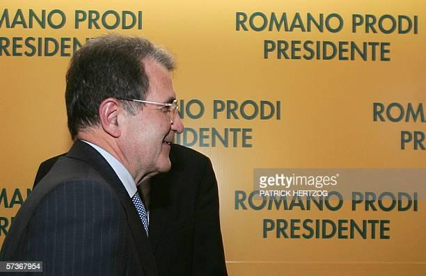 Centreleft leader Romano Prodi smiles during a press conference in Rome 19 April 2006 Italy's supreme court confirmed Prodi's lower house election...