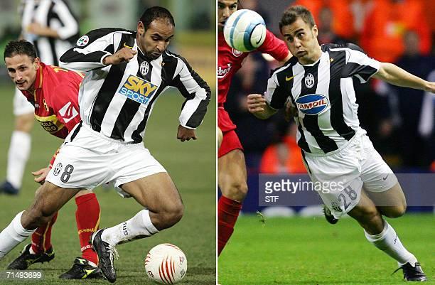 Combo picture shows Juventus' defender Fabio Cannavaro in Liverpool 05 April 2005 and Juventus' midfielder Ferreira Emerson in Messina 19 February...