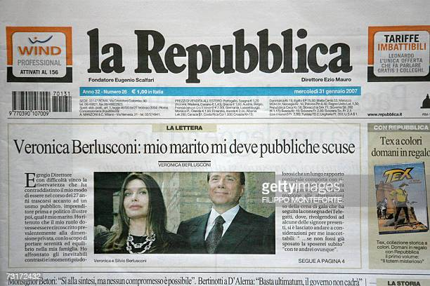 CORRECTION DATE Picture of the front page of Italian newspaper 'La Republica' with Veronica Lario's letter 31 January 2007 The wife of former Italian...