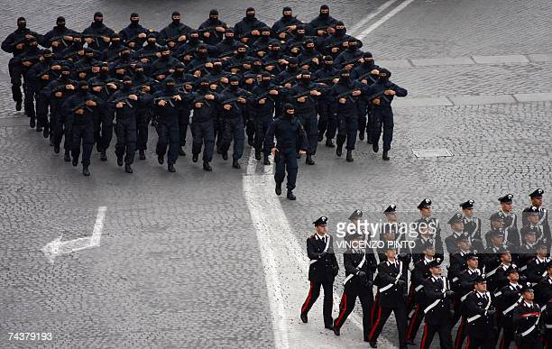 Italian Carabinieri and GIS march on Via dei Fori Imperiali avenue during the military parade in central Rome during the Day of the Republic...