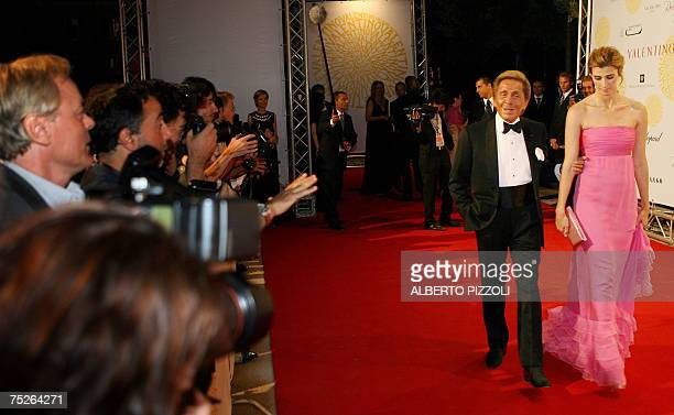 Italian haute couture designer Valentino and Rosario Nadal arrives at Villa Borghese for his gala dinners in Rome 07 July 2007 Valentino's celebrates...