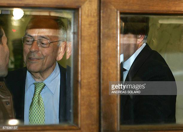 Italian majority Forza Italia party's Cesare Previti leaves after being sentenced to six years in prison by Italy's top Criminal Cassazione Court who...