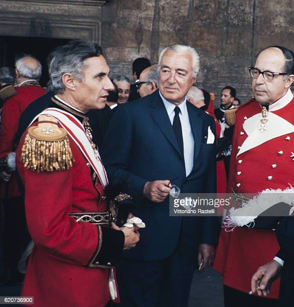 Rome Italy Italian movie director Vittorio de Sica with two members of the Sovereign Order of Malta in Rome October 22 1970
