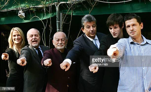 Italian producers Martha Schumacher her son Aurelio De Laurentiis her husband Dino De Laurentiis Tunisian producer Tarak Ben Ammar French Actor...