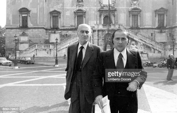 Rome Italy Journalist Indro Montanelli and Silvio Berlusconi at Piazza del Campidoglio