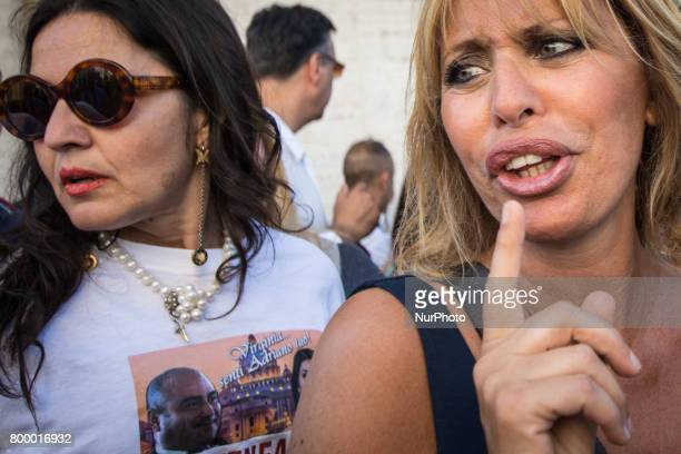 Rome Italy June 22 Alessandra Mussolini during Several hundred people gathered in Capitol Hill Square to protest against Mayor of Rome Virginia Raggi...