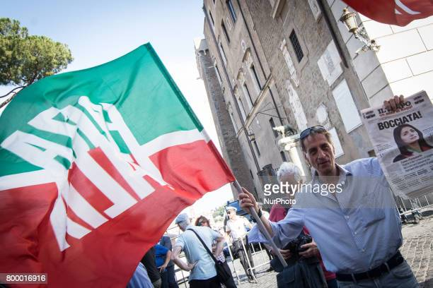 Rome Italy June 22 Several hundred people gathered in Capitol Hill Square to protest against Mayor of Rome Virginia Raggi and her policy after one...