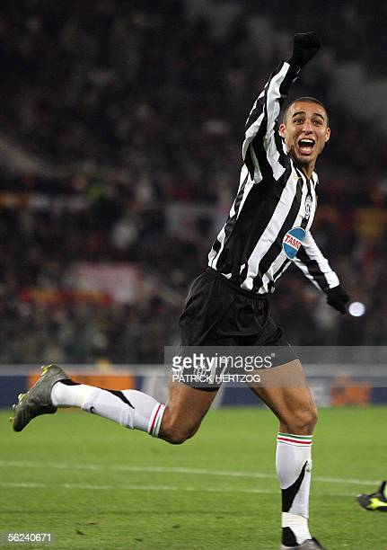 Juventus French forward David Trezeguet celebrates after scoring a goal against AS Roma during their Serie A football match at Rome's Olympic stadium...