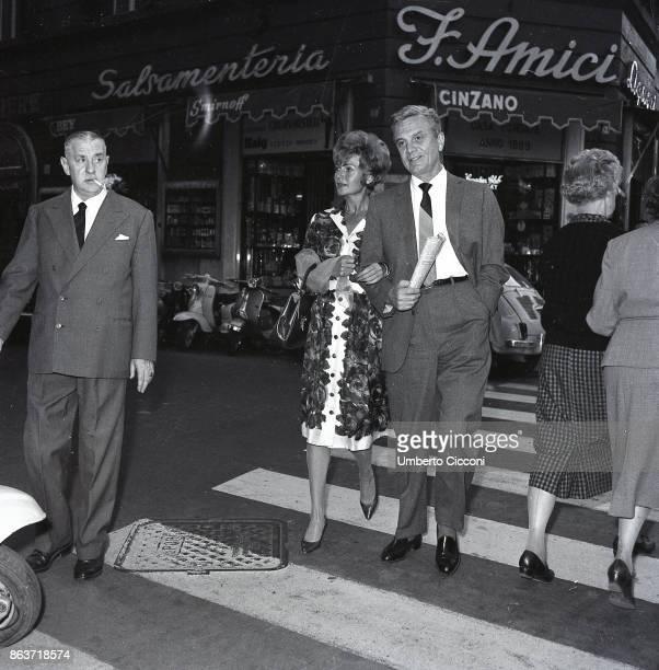 Rome Italy May 1961 Rita Hayworth and her fifth husband James Hill film producer walking in Via Veneto