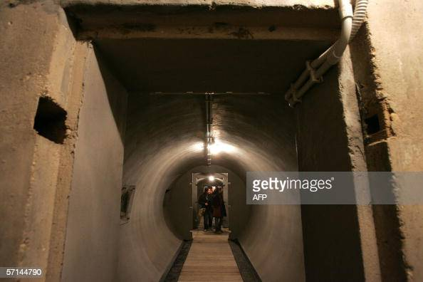 Picture taken 21 March 2006 in Rome of an airraid shelter of the Villa Torlonia's Casino after his renovation The Mussolini family lived here in...