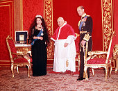 1961 Rome Italy Queen Elizabeth II and her husband Prince Philip Duke of Edinburgh pictured with Pope John XXIII in the Vatican City Rome during the...