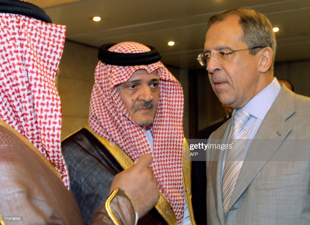 Saudi Foreign Minister Prince Saud al-Faisal (L) talks with Russian Foreign Minister Sergei Lavrov at Rome's foreign ministry 26 July 2006 prior to an international conference on the Middle East crisis. The meeting was proposed to the United States by Italy with the aim to coordinate the peace initiatives by the USA, the EU and the UN. The meeting is expected to discuss the possibilities of an agreement for a ceasefire, the humanitarian assistance to Lebanon and the commencement of a dialogue on ways to stabilise the region through the presence of a UN multinational peacekeeping force.