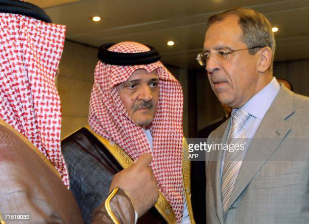 Saudi Foreign Minister Prince Saud alFaisal talks with Russian Foreign Minister Sergei Lavrov at Rome's foreign ministry 26 July 2006 prior to an...