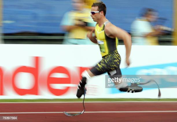 South Africa's Oscar Pistorius competes in the men's 400m race B during the Athletics IAAF Golden Gala in Rome's Olympic Stadium 13 July 2007 South...