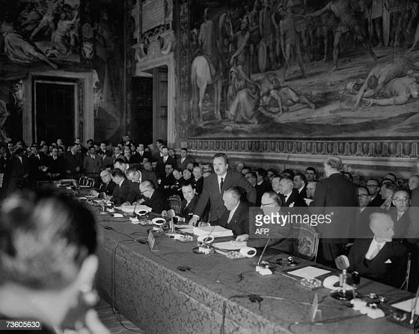 This file picture taken 25 March 1957 in Rome shows delegations attending the talks before signing the treaties creating the European Economic...