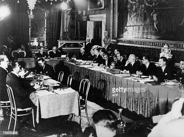 This file picture taken 25 March 1957 in Rome shows the Italian delegation attending the talks before signing the treaties creating the European...