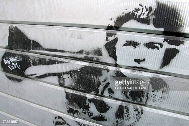 TO GO WITH AFP STORY 'For Rome's artists anonymity is bliss' Picture taken 15 November 2006 in Rome shows a stencil depicting US actor Clint Eastwood...