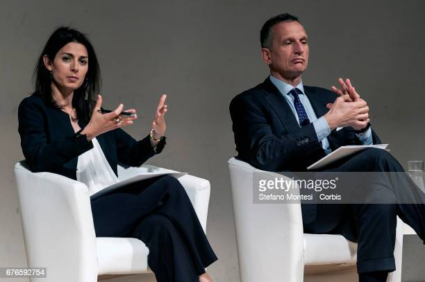 Rome Mayor Virginia Raggi and Chairman of the TIM Foundation Giuseppe Recchi during the press conference to present the restoration work of the...