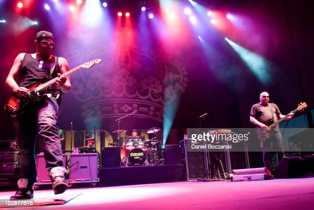 Rome Ramirez Bud Gaugh and Eric Wilson of Sublime performs on stage at Charter One Pavilion on July 13 2010 in Chicago Illinois