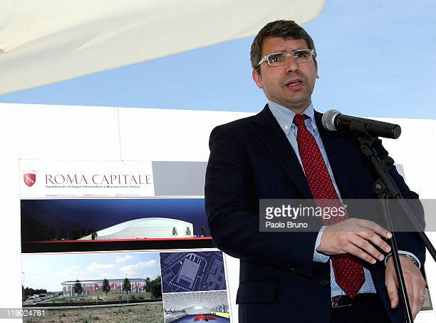 Rome Sports Counsellor Alessandro Cochi attends the unveiling of the new Sports Arena site at Corviale on April 8 2011 in Rome Italy
