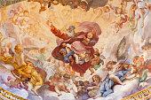 Rome - The fresco The Eternal in Glory by Luigi Garzi  (1685) in apse of Cybo chapel in church Basilica di Santa Maria del Popolo.