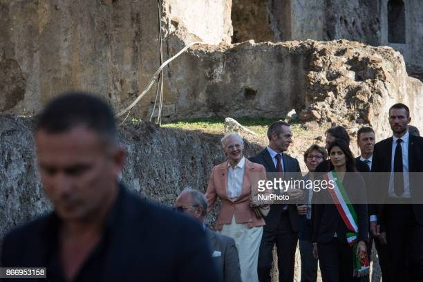 Rome The mayor of Rome Virginia Raggi welcomes the queen of Denmark Margrethe II during the visit to the archaeological site of the Cesare Forumin...