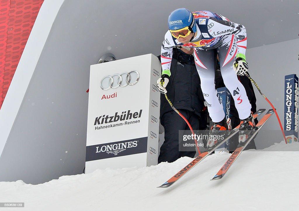 Romed Baumann beim Start zum 74 Hahnenkamm FIS Abfahrts Weltcup auf der Streif am 25 Januar 2014 in Kitzbuehel