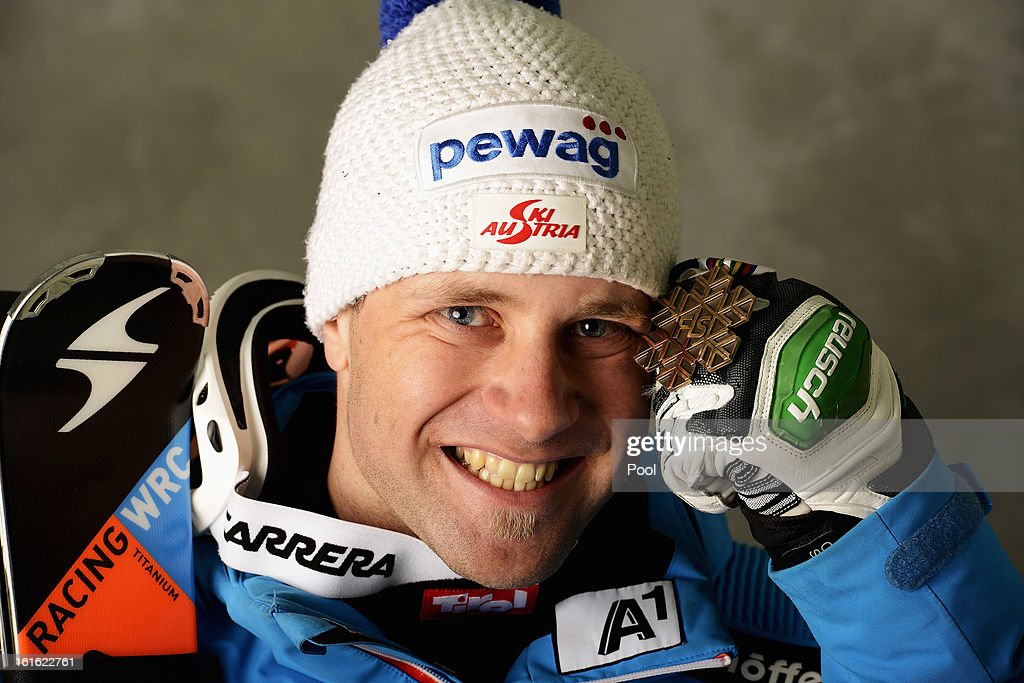 Romed Baumann of Austria celebrates with his bronze medal for finishing second in the Men's Super Combined during the Alpine FIS Ski World...