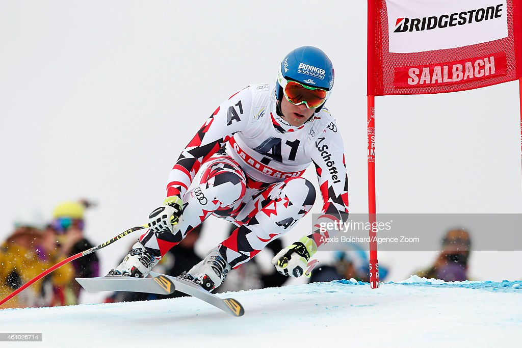 Romed Baumann of Austria competes during the Audi FIS Alpine Ski World Cup Men's Downhill on February 21 2015 in Saalbach Austria