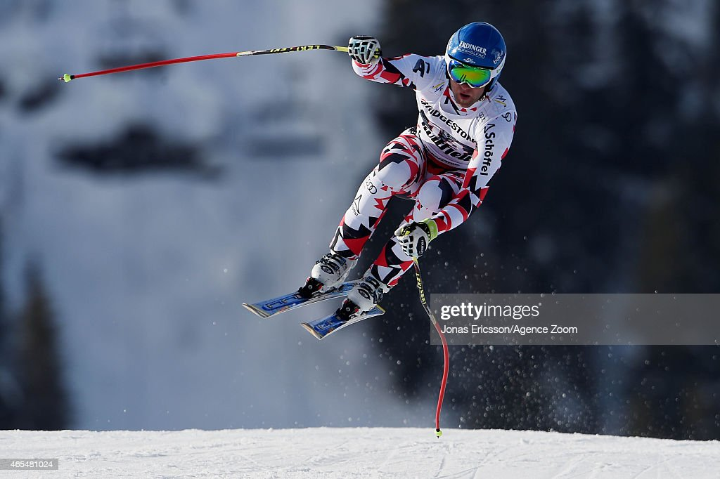 Romed Baumann of Austria competes during the Audi FIS Alpine Ski World Cup Men's Downhill on March 07 2015 in Kvitfjell Norway