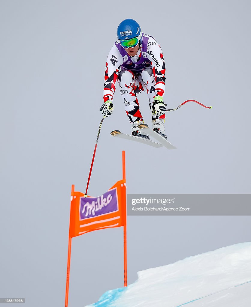 Romed Baumann of Austria competes during the Audi FIS Alpine Ski World Cup Men's Downhill Training on November 26 2015 in Lake Louise Canada