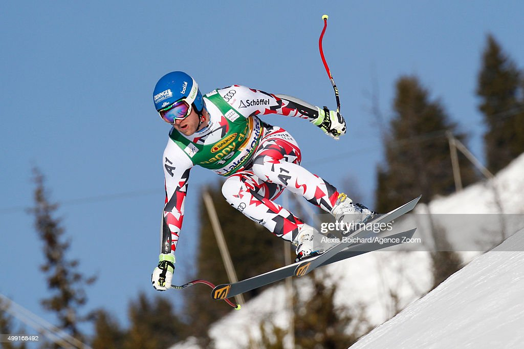 Romed Baumann of Austria competes during the Audi FIS Alpine Ski World Cup MenÕs SuperG on November 29 2015 in Lake Louise Canada