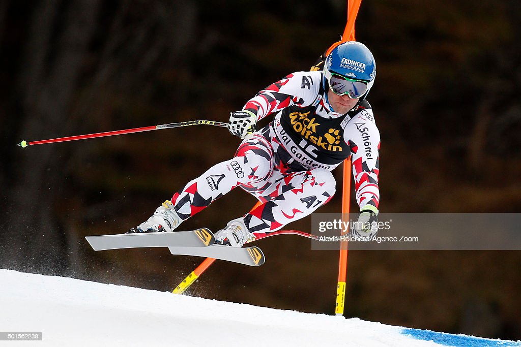 Romed Baumann of Austria competes during the Audi FIS Alpine Ski World Cup Men's Downhill Training on December 16 2015 in Val Gardena Italy