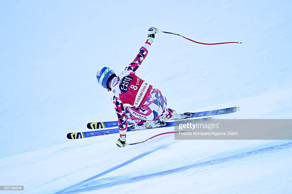 Romed Baumann of Austria competes during the Audi FIS Alpine Ski World Cup Men's Downhill on December 29 2015 in Santa Caterina Valfurva Italy