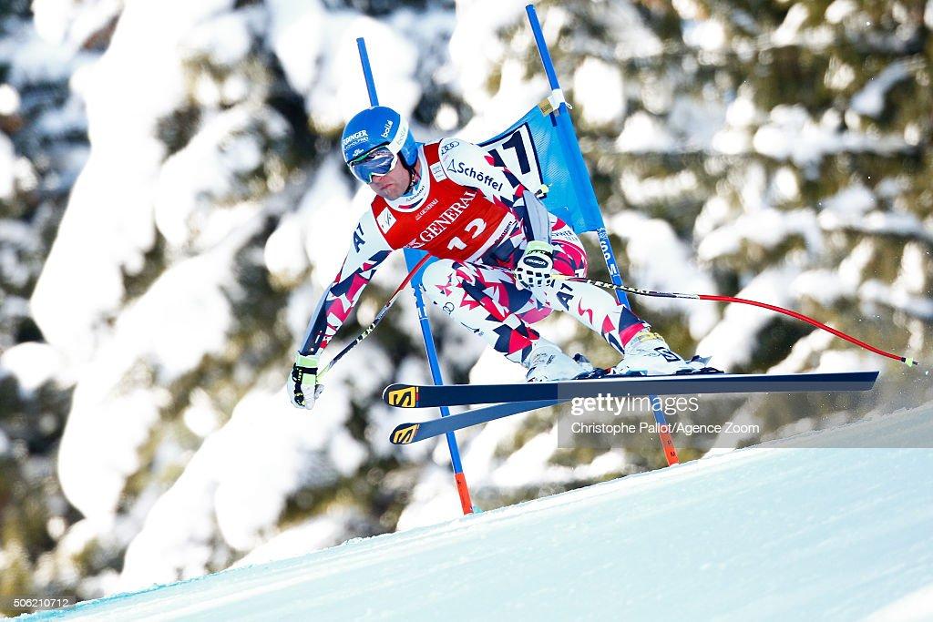 Romed Baumann of Austria competes during the Audi FIS Alpine Ski World Cup Men's SuperG on January 22 2016 in Kitzbuehel Austria
