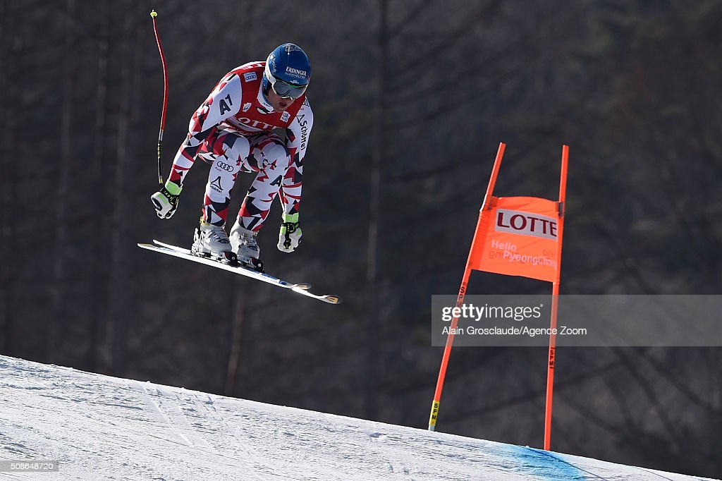 Romed Baumann of Austria competes during the Audi FIS Alpine Ski World Cup Men's Downhill on January 06 2016 in Jeongseon South Korea