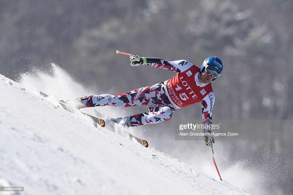 Romed Baumann of Austria competes during the Audi FIS Alpine Ski World Cup Men's Super G on January 07 2016 in Jeongseon South Korea