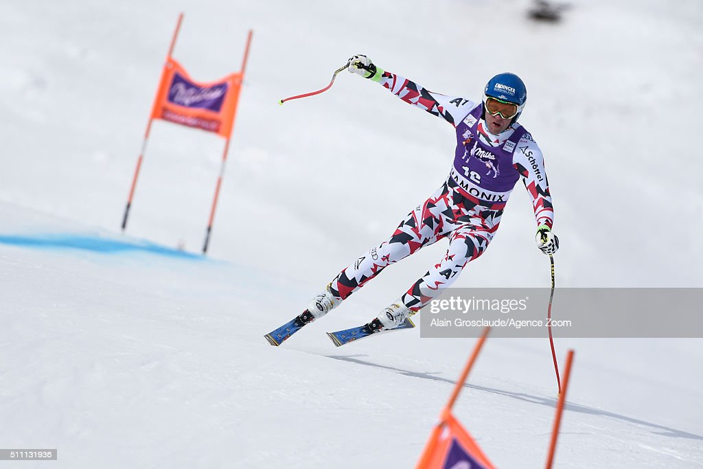 Romed Baumann of Austria competes during the Audi FIS Alpine Ski World Cup Men's Downhill Training on February 18 2016 in Chamonix France