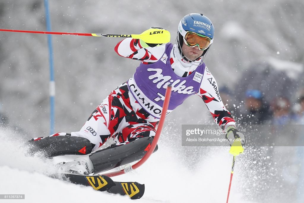 Romed Baumann of Austria competes during the Audi FIS Alpine Ski World Cup Men's Super Combined on February 19 2016 in Chamonix France