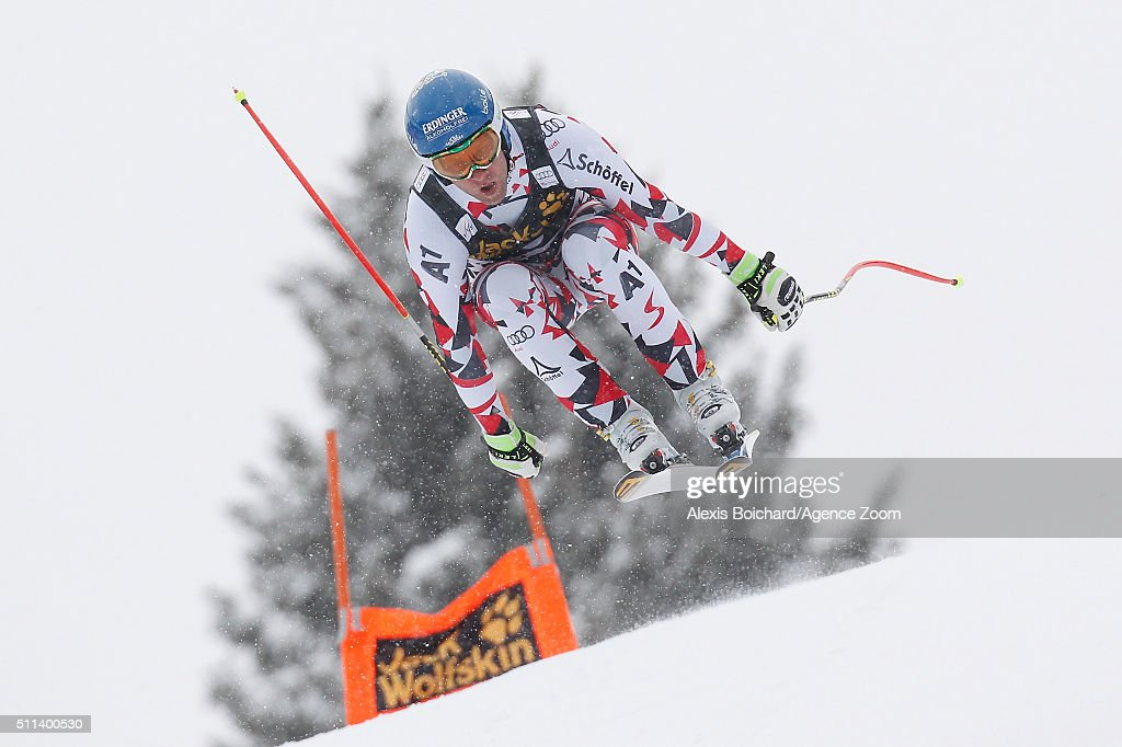 Romed Baumann of Austria competes during the Audi FIS Alpine Ski World Cup Men's Downhill on February 20 2016 in Chamonix France