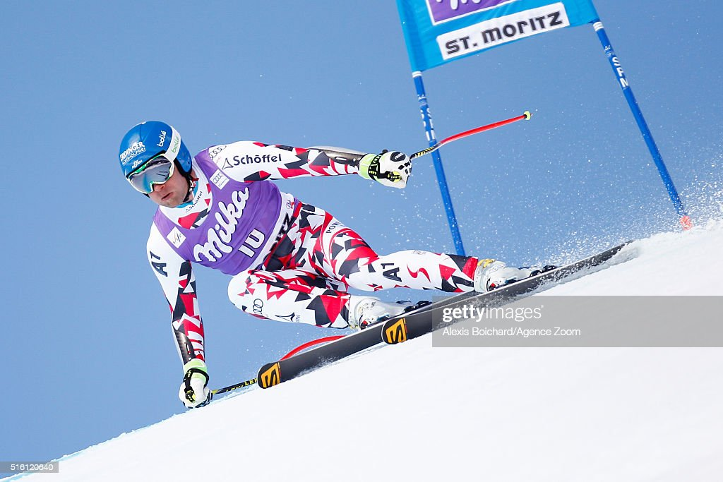 Romed Baumann of Austria competes during the Audi FIS Alpine Ski World Cup Finals Men's and Women's SuperG on March 17 2016 in St Moritz Switzerland