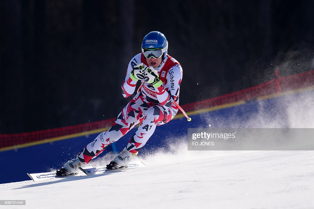 Romed Baumann of Austria competes in the 8th Men's Downhill event of the FIS Alpine Ski World Cup in Jeongseon county, some 150km east of Seoul on February 6, 2016. The FIS Ski Men's World Cup runs from February 6-7 and is the first official test event for the Pyeongchang 2018 Winter Olympics. AFP PHOTO / Ed Jones / AFP / ED JONES