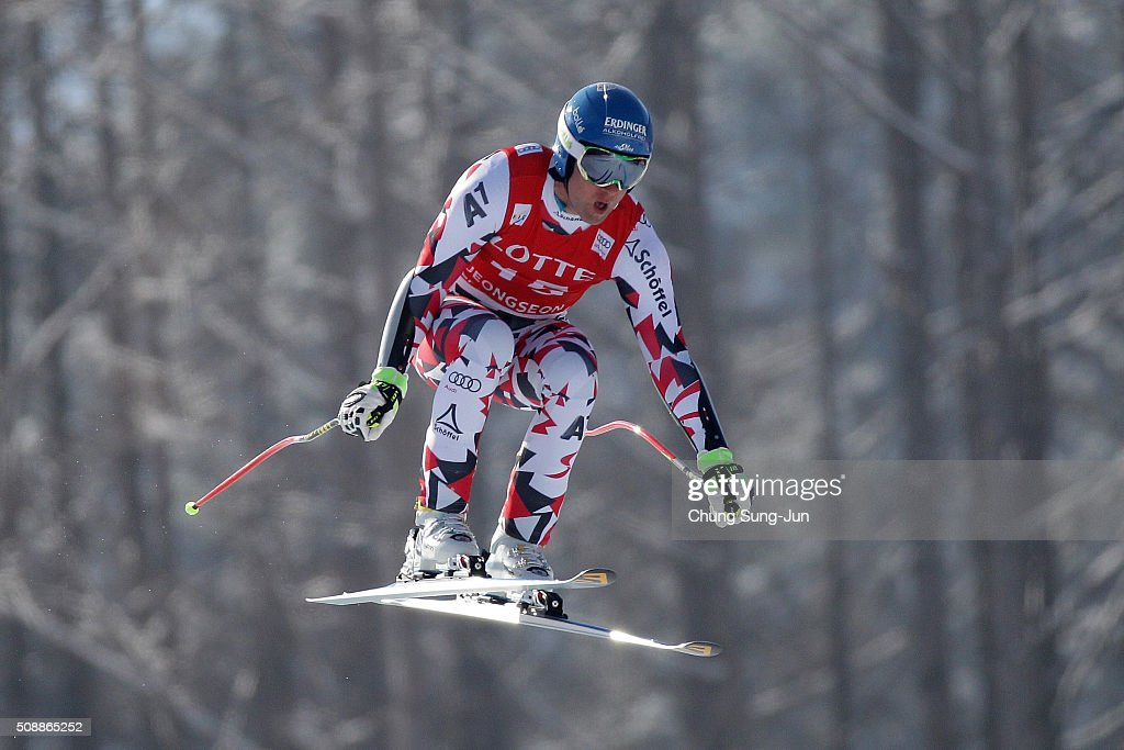 Romed Baumann of Austria competes in the Men's Super G Finals during the 2016 Audi FIS Ski World Cup at the Jeongseon Alpine Centre on February 7...